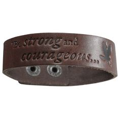 """Leather """"Be Strong & Courageous"""" Christian Wristband - Joshua 1:9. 9 3/8 x 3/4 Inch. Adjusts to 7 7/8 and 8 1/2 Inch Inside Circumference. Genuine Leather. From the Witness Gear® Collection."""
