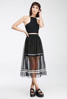 Varsity-Striped Tulle Overlay Skirt | Forever 21 - 2002246894