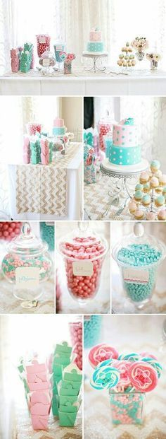 Pink and blue baby shower candy bar