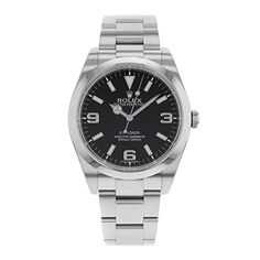 Men's Wrist Watches - Rolex Explorer Black Dial Domed Bezel Oyster Bracelet Mens Watch 214270BKASO * See this great product.