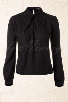 Fever - 40s Vintage Windsor Blouse in Black
