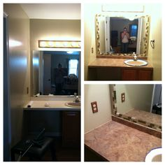 Painted laminate countertops and framed mirror in one day!  The Countertop 1. Clean throughly  2. Lightly sand with fine grit sanding block 3. Clean again 4. Prime with Kilz 5. Sponge painted with 4 acrylic colors (tan, brown, black and gray) 6. Coat with polyurethane, several coats!   The Mirror 1. Clean  2. I chose backsplash tiles from Home Depot that were ready to grout.  3. Peel tiles off and place Locktite mirror glue on each tile and just stick it!
