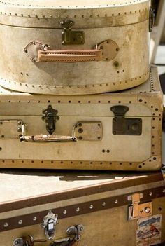 I am thinking these vintage suitcases would be kind of fabulous anywhere in the house