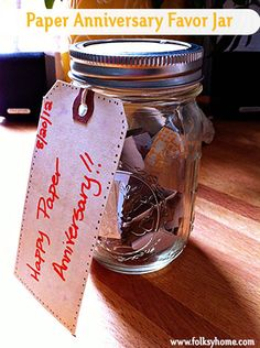 Paper Anniversary (First Anniversary) Gift Idea - A Favor Jar!