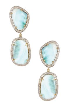 White Diamond Halo Larimar Earrings - 1.20 ctw