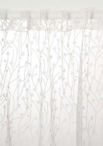 White Embroidered Organza 96 Inch Sheer Curtain Panel Overstock