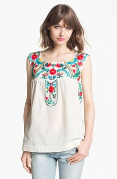 Willow & Clay Embroidered Peasant Tank | Nordstrom