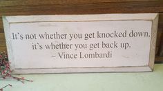 Vince Lombardi, Knocked Down, Get Back Up Inspirational Quote Green and Gold Green Bay Packers, Pink Collectible, Wood Wall Sign, Home Decor by ANTFOUNDANTIQUES on Etsy