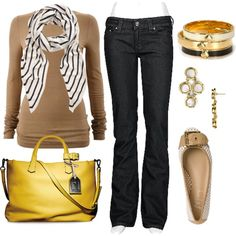 Great accessories! A yellow bag, striped scarf and a buckle shoe! Love!