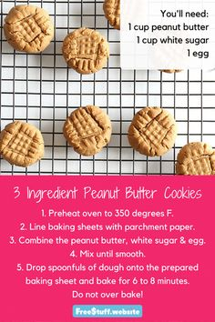 You can enjoy peanut butter cookies anytime with these three simple ingredients.