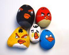 Basteln mit Kindern: Angry Birds Steine