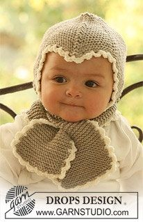 DROPS bonnet and scarf in garter st with crochet borders hand knitted in Merino Extra Fine.