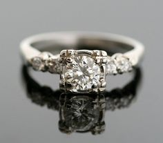 Vintage Diamond Ring - White Gold and Diamond Engagement Ring