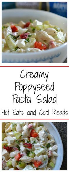 This delicious pasta salad is loaded with cucumbers, strawberries, tomatoes and fresh mozzarella! Perfect for any summertime meal, especially when grilling! Creamy Poppyseed Pasta Salad from Hot Eats and Cool Reads #FireUptheGrill #ad