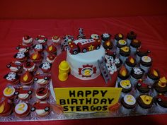 Fire truck themed cake and cupcakes