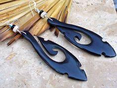 Barbed Black Horn Hook Earrings  Bold One by KipajiPraiseJewelry, $30.00