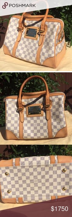 TRADE!Louis Vuitton Damier azure Berkeley bag Beautiful summer bag in  used condition with signs of wear on leather and rubbing around the edges and corners. Leather is little darker around handles and corners. Still very beautiful bag for this season. OPEN TO TRADE.. LOOKING FOR GUCCI SOHO BAG Louis Vuitton Bags