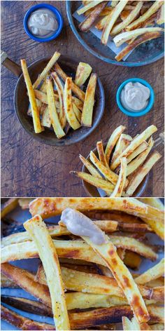 Baked Parsnip Fries with Creamy Balsamic Reduction Dip (vegan, GF) - A healthier way to make fries instead of potatoes. Crispy & so good!