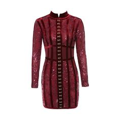 'Gigi' Deep Red Velvet and Lace Mini Dress ❤ liked on Polyvore featuring dresses, long-sleeve velvet dress, short red dress, lace dress, long-sleeve lace dress and long sleeve dress