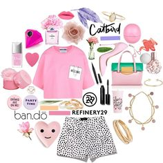 Meet The Best Accessorized Squad On Polyvore #refinery29  http://www.refinery29.com/polyvore-bando-catbird-accessories-sweeps-winners#slide-2  misskarolinaPretty in pink is more versatile than you think. Karolina's set did a fantastic job of showing how she'd pair her new favorites from Ban.do and Catbird with high-end fashion and trusted beauty products. This is how grown-ups do girly....