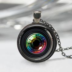 Eye in a Camera lens Necklace Photographer Jewelry