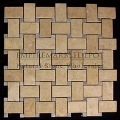 Crema Marfil Marble Basketweave Mosaic Tile with Bardiglio Gray Dots Polished