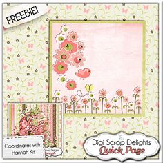 New Hannah Digital Scrapbook Kit & Freebie Quick Page