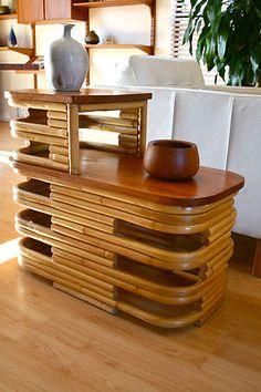 Vintage 1940's Frankl Art Deco Rattan Bamboo Side End Table Hawaiiana Tiki | eBay