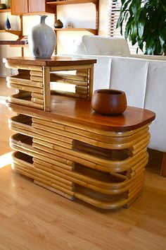 Vintage 1940's Frankl Art Deco Rattan Bamboo Side End Table Hawaiiana Tiki   eBay