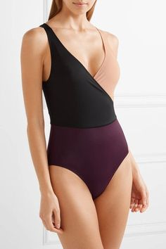 Solid and Striped - The Ballerina Color-block Swimsuit - Burgundy - x small