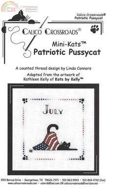 "Calico Crossroads Kats By Kelly - Mini Kats ""Patriotic Pussycat"" - July 2007"