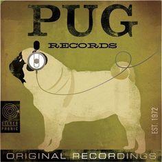 vintage pug poster | PUG records album style graphic artwork on canvas by geministudio