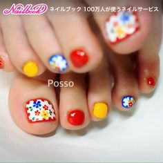 26 Super Ideas For Pedicure Flower Designs Beautiful Pretty Toe Nails, Cute Toe Nails, Cute Nail Art, Feet Nail Design, Toe Nail Designs, Mexican Nails, Pedicure Nail Art, Red Pedicure, Feet Nails