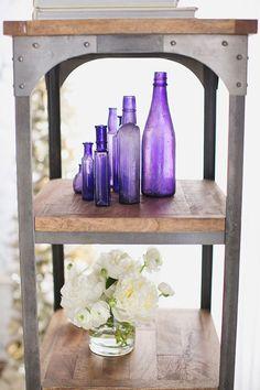 purple bottles + creamy flowers