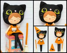 Halloween cat girl. Witch doll PDF Pattern by Noialand on Etsy