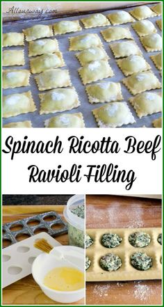 A cheesy beef spinach filling that can be used for ravioli or other pasta such as manicotti or large shells. Spinach Ricotta Beef Ravioli Filling - Spinach Ricotta Beef Ravioli Filling is deliciously cheesy and can be used with other pastas Spinach And Ricotta Ravioli, Pasta Recipes, Cooking Recipes, Fresh Pasta, Mets, Pasta Dishes, Italian Recipes, Food Processor Recipes, Easy Meals