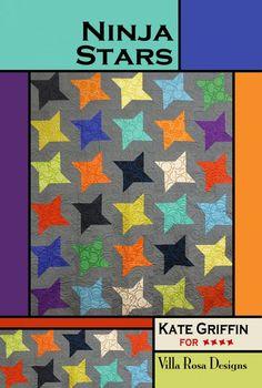 Villa Rosa Designs -Ninja Stars quilt pattern made with fatquarters.