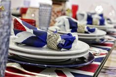 I love it when the table is properly set... . #table #setup #colors #unionjack #blue #red #cutlery #dinnertable #placemats