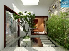 Indoor Courtyard, House Design, Exterior Design, House, Small Space Interior Design, Courtyard House, Interior And Exterior, Courtyard Design, Interior Garden