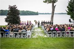 Awesome outdoor ceremony right by the water at Orchard Lake Country Club. #wedding #outdoor #ceremony #beautiful
