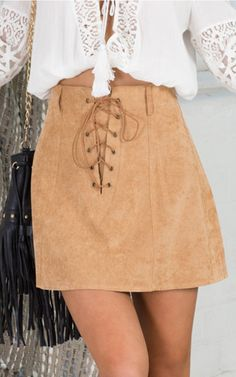 Lover Not A Fighter skirt in beige | SHOWPO Fashion Online Shopping $49