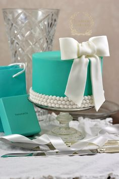 Tiffany's bridal shower cake by Juniper Cakery