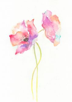 Fine art watercolor painting flower art POPPY by ChiFungW on Etsy