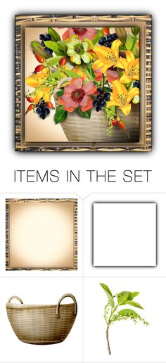 """Basket Framed Basket of Flowers"" by kathy-martenson-sanko ❤ liked on Polyvore featuring art"