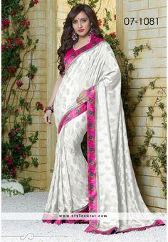 Pretty White Saree Endorsed By Neha Sharma