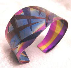 Vintage 1980s Signed Holly Yashi Niobium Cuff Bracelet.  -From Etsy