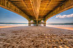 桟橋, 木造, ビーチ, 砂, ブリッジ, 建設, 構造, 建物, レジャー, 下に, シャドウ, 海, 水