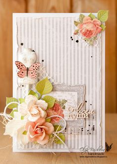 New card with stripes and roses for Studio75