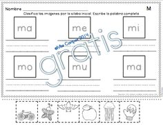 FREE - Fichas para M y las silabas ma me mi mo mu - gratis - SILABAS INICIALES - Miss Campos 2014