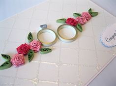 Quilled flowers and ring